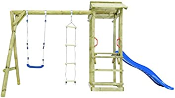 vidaXL Parque Infantil con Escalera, Tobogán y Columpio de Madera Centro de Juegos Juguetes Niños Pequeños Exteriores Jardín Terraza Patio Balcón: Amazon.es: Juguetes y juegos