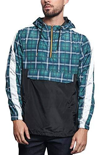 Victorious Men's Plaid Checkered Tartan Luxury Brand Style Anorak Windbreaker Jacket JK5008 - Teal Blue - 4X-Large - ()