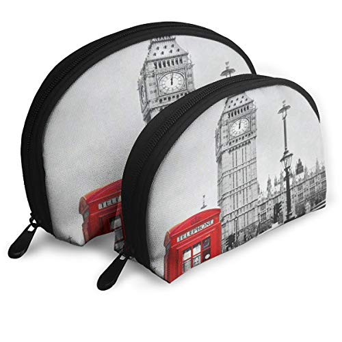 Pouch Zipper Toiletry Organizer Travel Makeup Clutch Bag Retro Red Telephone Booth Big Ben London Portable Bags Clutch Pouch Storage Bags