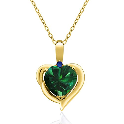 Gem Stone King 1.51 Ct Heart Shape Green Simulated Emerald 18K Yellow Gold Plated Silver Pendant ()