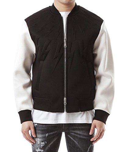 Wiberlux Neil Barrett Men's Embossed Thunder Detail Two-Tone Jacket L Black_White