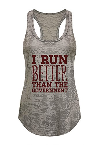 Tough Cookie's Women's I Run Better Than The Government Burnout Tank Top (Medium - LF, Heather - Clothing Lf
