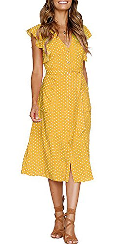 V Neck Polka dot High Waist Tie Bow Streetwear Boho Maxi Dress Without Belt (Yellow, Large) ()