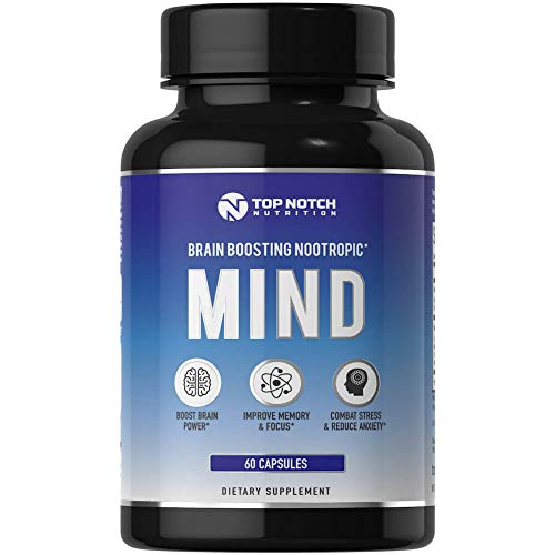 - Top Notch Nutrition Nootropic Brain Supplement Featuring a B Complex, L Theanine, Bacopa & Alpha GPC. Experience Anxiety Relief, Improved Memory, Mental Clarity, Focus. No Caffeine Energy Pills - 60