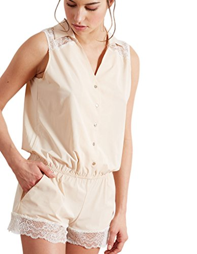 Barbara 221963 Women's Jane Ivory Powder Beige Lace Sleepwear Teddy Large (Brand Size 4) by Barbara