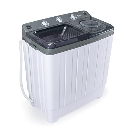 Della Compact Portable Washing Machine Dual Twin Tub (14KG) Top Load Spin & Dry Wash w/ Built-in Drain Pump, White