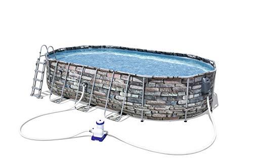 Bestway Piscina Power Steel Frame Pools Oval 6.10 X 3.66 M h1.22 + ...