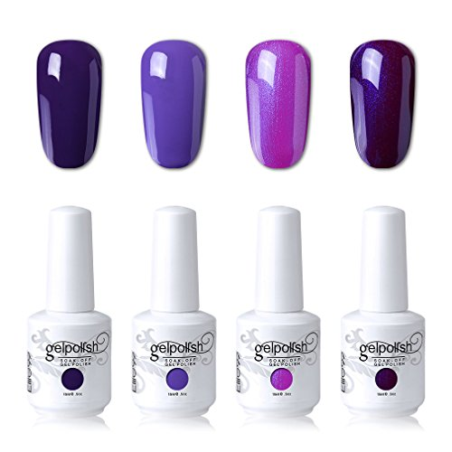 Elite99 Soak Off Gel Polish Lacquer UV LED Nail Art Manicure Kit 4 Colors Set LM-C106 + Free Gift (20pcs Gel Remover Wraps)