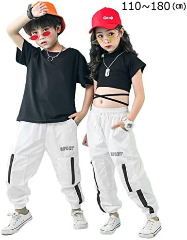 キッズ ダンス 衣装 ヒップホップ チアガール へそ出し 女の子 チアガール 男の子 ヒップホップ ダンス衣装 セットアップ ロングパンツトップス サルエル キッズダンス ストリート ダンスウェア ジャズ hiphop (女トップス+パンツ,150)
