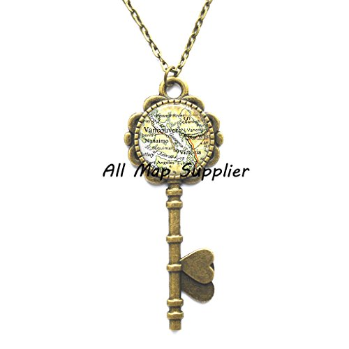 Charming Key Necklace Vancouver, British Columbia map Key Necklace, Vancouver map Key Necklace, Victoria map Key Pendant, A0089