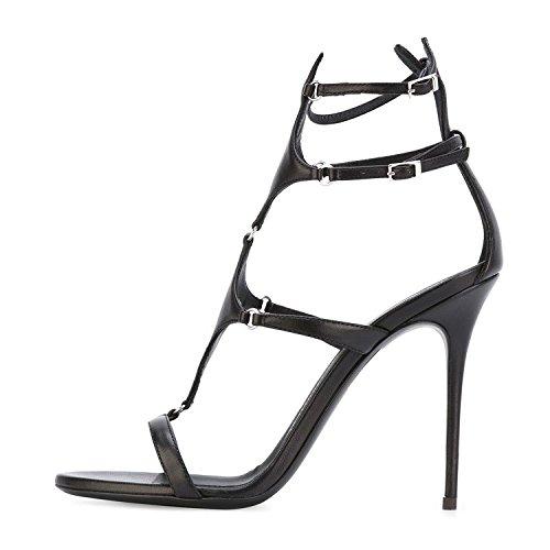 COOLCEPT Strappy Buckle High Shoes Summer Women Heels Gladiator Fashion Thin Heel Black Sandals rArfxT