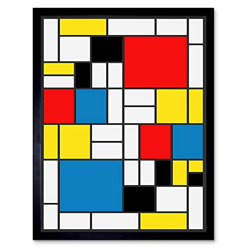 Wee Blue Coo Mondrian Abstract Cubes Squares Old Master Painting Art Print Framed Poster Wall Decor 12x16 inch