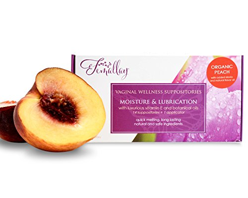 Femallay Sweetly Peach Vitamin E Vaginal Suppositories for Personal Moisturizing & Wellness with Organic Coconut Oil + Vitamin E + Other Botanical Ingredients, Box of 14 + Vaginal Applicator