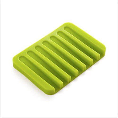 Silicone Bathroom Shower Soap Box Storage Plate Tray Drain Holder Flower Soapbox