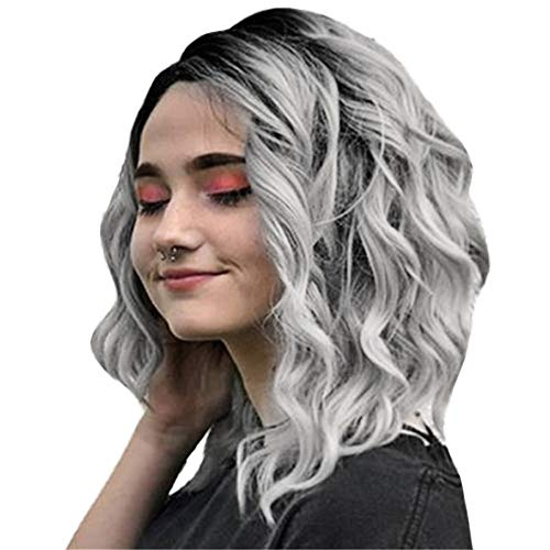 US shipment Clearance Short Wavy Bobo Human Hair Rose net Wig Glueless Front Wigs Gray Women by USLovee3000
