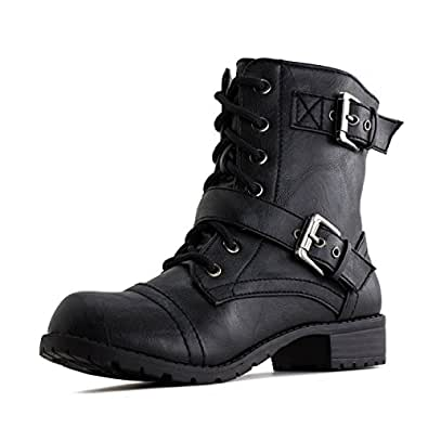 Kali Footwear Women's Faux Leather Combat Boots Black 10,Ground
