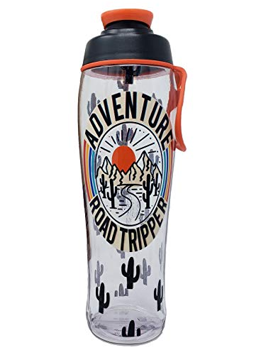 50 Strong BPA Free Gym Water Bottle with Ice Guard Flip Top Cap & Carry Loop – Cute Designer Prints – Perfect for Men, Women, Sports & Workout – 24 oz. – Made in USA (Adventure, 30 oz.)