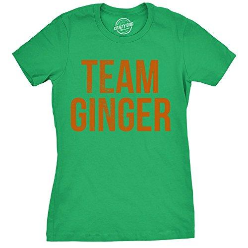 (Womens Team Ginger Tshirt Funny Red Head St Patricks Day Irish Tee for Ladies (Green) XL)