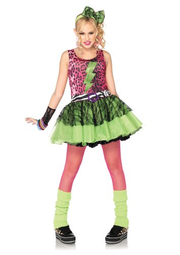 [Leg Avenue Costumes 3Pc.Totally 80S Amy Animal Print Dress Lace Arm Piece Headpiece Juniors, Pink/Black,] (Period Piece Halloween Costumes)