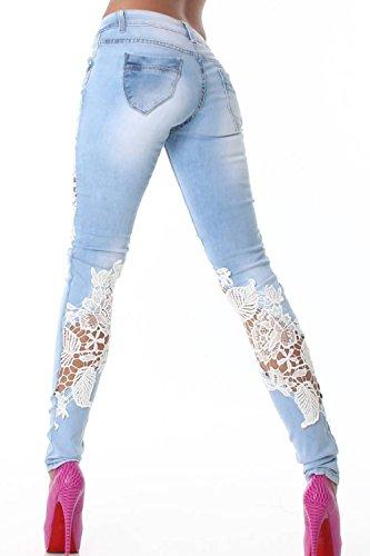 Estate Mosaico Blu Pantaloni Casual Donne Magro Fasumava Vita Lace Le Jeans Bassa ECqwH