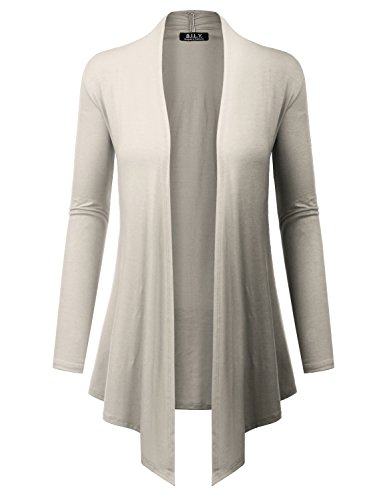 BH B.I.L.Y USA Women's Open Front Drape Hem Lightweight Cardigan with Pockets Ivory X-Large