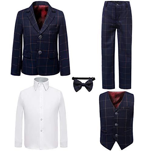 Boy's 5 Pieces Tuxedos Toddler Formal Suits Set Kids Slim Fit Suit for Weddings Size 8 Plaid