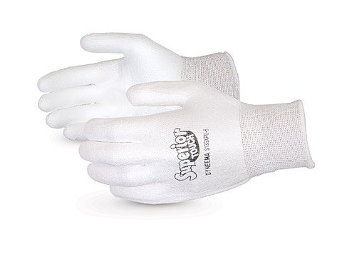 Superior S13SXPU Superior Touch Dyneema String Knit Glove with Polyurethane Coated Palm, Work, Cut Resistant, 13 Gauge Thickness, Size 8, White (Pack of 1 Pair)