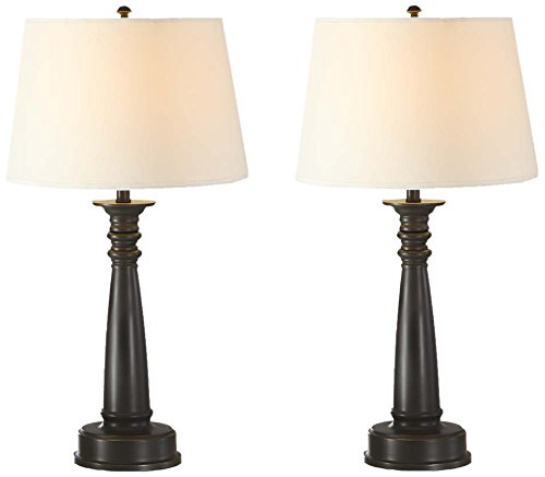 Gold Painted Finish - Artiva USA Twin-pack, Classic Design, 28-Inch Energy Saving Antique Bronze Finish Table Lamp with Hand-painted Gold Tracing