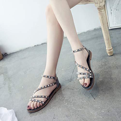 Cewtolkar Women Sandals Studded Shoes Flat Sandals Cross Strap Shoes Bohemia Sandals Loafers Shoes Roman Sandals Gray by Cewtolkar (Image #4)