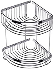 Corner Double Rack For Bathroom - Silver