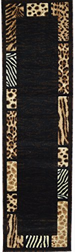 Wool Rug Zebra - Animal Skin Prints Patchwork Leopard Zebra Border Runner Rugs 4 Less Collection Area Rug R4L 73 (2'X7')