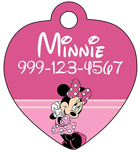uDesignUSA Disney Minnie Mouse Pet Id Tag for Dogs & Cats Personalized w/Name & Number]()