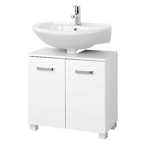Waschtischunterschrank in Hochglanz Weiß Breite 70 cm Pharao24 ... | {Waschtischunterschrank freistehend 89}