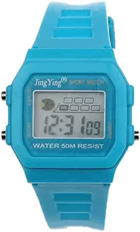 Sannysis Fashion Boy Girl Electronic LCD Digital Round Rubber Sport Wrist Watch Light Blue