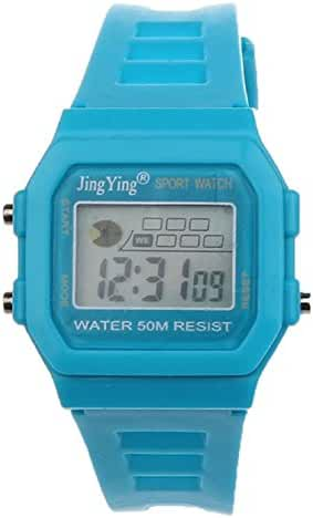 Sannysis Fashion Boy Girl Electronic LCD Digital Round Rubber Sport Wrist Watch Light Blue