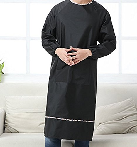 Mens Long Sleeve aprons waterproof and oil proof smock overalls adult Home Furnishing kitchen (Black color)