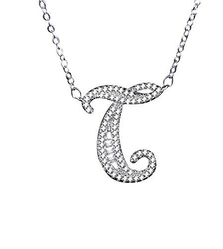 Uloveido Initial T Letter White Gold Plated Necklace Pendant for Women Girls Kids Mom Friend with Cubic Zirconia Stone CZ Crystals NL025