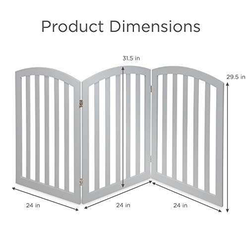 Arf Pets Free Standing Wood Dog Gate, Expands Up to 74 Wide, 31.5 Tall – Bonus Set of Foot Supporters Included Grey Color