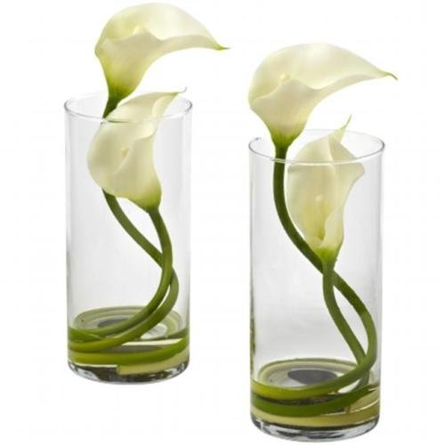 Nearly Natural 1390-CR-S2 Double Calla Lily With Cylinder, Cream Set of 2 (Double Calla Lily)