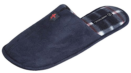 J. Fiallo Mens Ultra Soft Fabric Scuff House Slipper With Inner Plaid (Navy)L