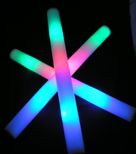 "6 pack of 18"" Multi Color Foam Baton LED Light Sticks - Red, Green, Blue LEDs"