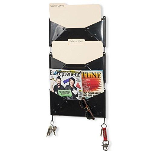 Vertical Metal (Wall File Holder Metal Vertical Hanging Organizer Multi Purpose Folder Mail Sorter Magazine Holder Office Storage Key Hooks Set of 3 (Black))