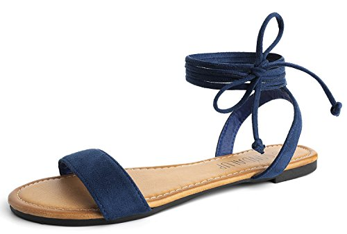 SANDALUP Tie up Ankle Strap Flat Sandals for Women Navy Blue 07 by SANDALUP