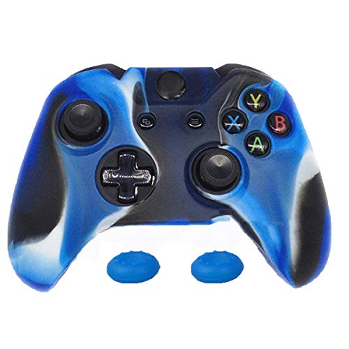 1 x Soft Silicone Protective Skin Case Cover + 2 x Thumb Sticks Caps Grips for Microsoft Xbox One 1 Wireless Controller,Blue Camo