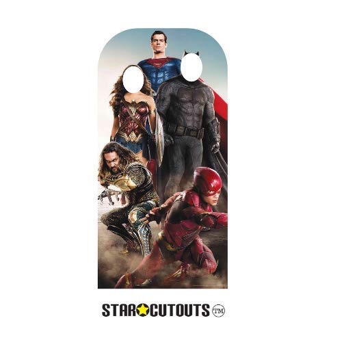 Star Cutouts SC1339 Justice League Stand-in (Adult) Live Action Superman Batman Wonder Woman The Flash 193cm Tall 94cm Wide, Multicolour