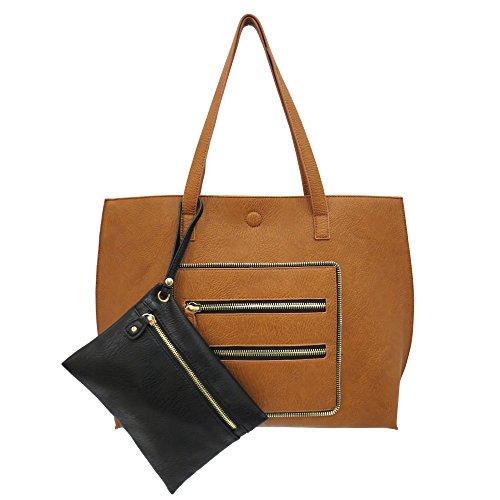 under-one-sky-womens-reversible-zipper-trim-tote-with-bonus-removable-wristlet-cognac-black