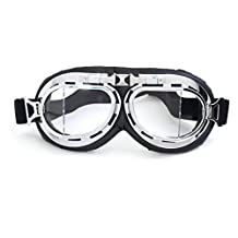 Heinmo Anti-UV Motocross Goggle Motorcycle goggles Dirt Bike Off-Road Goggle for Harley (T08 White Lens Silver Frame Black Padding)