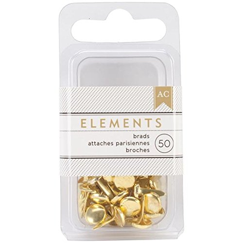 American Crafts Elements Brads, 0.1875-Inch, Gold, 50-Pack (American Crafts Elements Brads)