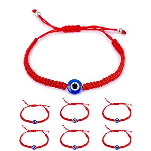 6pcs Evil Eye String Kabbalah Bracelets for Protection and Luck Hand-Woven Red Black Cord Thread Friendship Bracelet Anklet (6pcs-1-eye) (Red Eye Evil String)