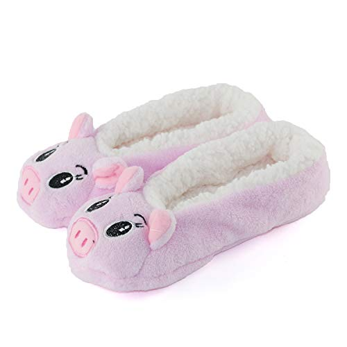 Womens Warm Cozy and Lovely Animal Non-Skid Knit Indoor Home Floor Slippers Socks for Adults Girls … (6.5-8.5, Pink Pig)